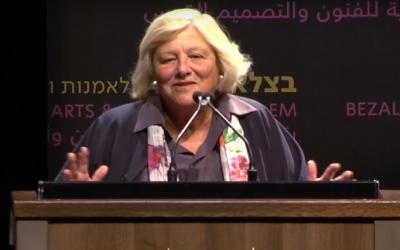 British Jewish philanthropist Vivien Duffield in Jerusalem on May 8, 2018. (Screenshot: YouTube)