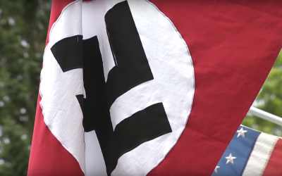 Illustrative: A Nazi flag flown in the United States. (Screenshot: YouTube)