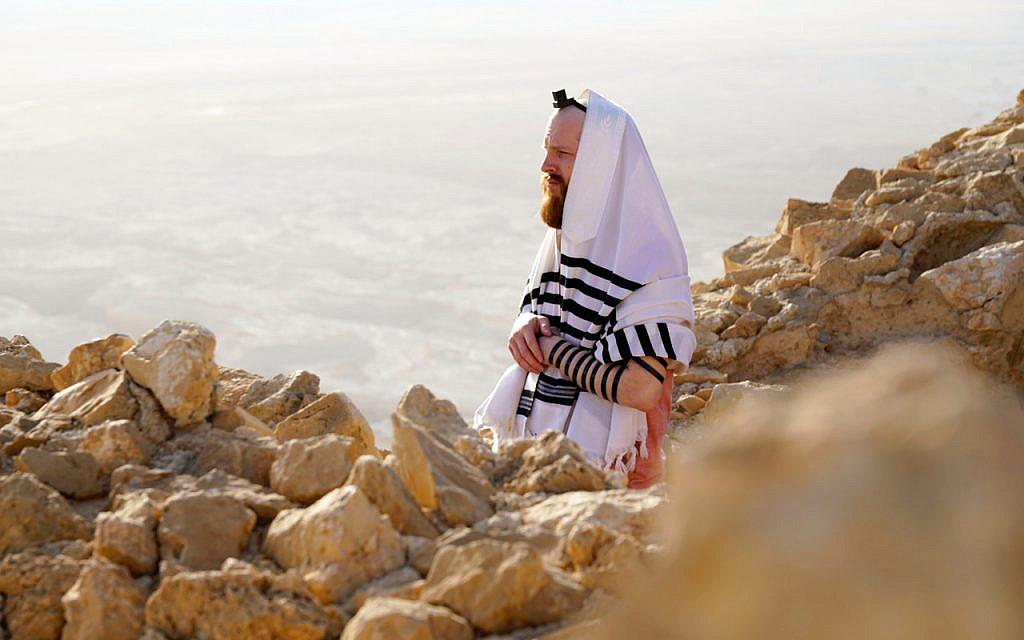From the BBC TV program 'We Are British Jews,' Joseph praying at the top of Masada.  (Lion TV/ Strahila Royachka)