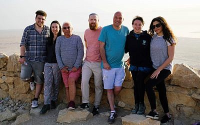 From left to right: 'We Are British Jews' participants Simon, Lilly, Alan, Joseph, Damon, Emma and Ella at the top of Masada, on the final filming day in Israel. (Lion Television/ Strahila Royachka)