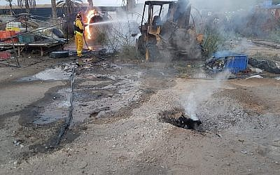 The site where a projectile from the Gaza Strip hit a house in the Eshkol region of southern Israel, injuring two people, on August 9, 2018. (Eshkol Security)