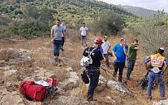 Scene where a 78-year-old man died while rappelling near Karnei Shomron in northern Israel on August 17, 2018. (Magen David Adom)