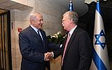 Prime Minister Benjamin Netanyahu, left, meets US National Security Adviser John Bolton at the PM's official residence in Jerusalem, August 19, 2018. (Haim Tzach/GPO)