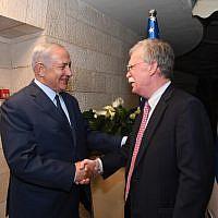 Prime Minister Benjamin Netanyahu, left, meets US National Security Adviser John Bolton at the PM's official residence in Jerusalem, August 19, 2018. (Haim Tzach/GPO)