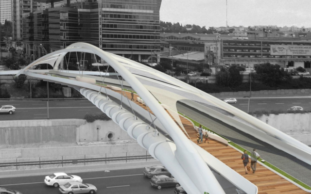 An artist's impression of the Yehudit Bridge in Tel Aviv. (NCArchitects)
