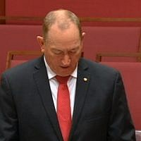 Fraser Anning speaking to Australia's Parliament on August 14, 2018. (screen capture: ABC)