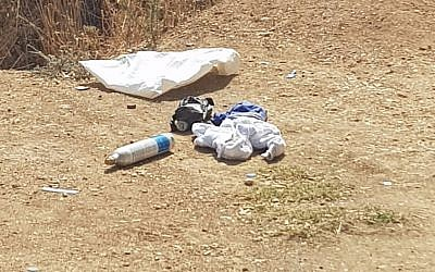 A photo released by the Israel police shows three bombs captured on the persons of two Palestinian teens at the entrance to a West Bank military court (Israel Police)