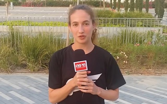 Athlete Noa Hayat speaks to a Haifa local news channel (YouTube screenshot)