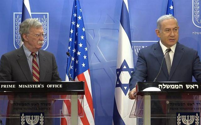 US National Security Adviser John Bolton (L) and Prime Minister Benjamin Netanyahu ahead of their meeting in Jerusalem, August 20, 2018 (PMO screenshot)