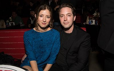 """Beck Bennett with Jessy Hodges at the after party for the premiere of HBO's """"Barry"""" at NeueHouse Hollywood in Los Angeles, March 21, 2018. (Emma McIntyre/Getty Images via JTA)"""