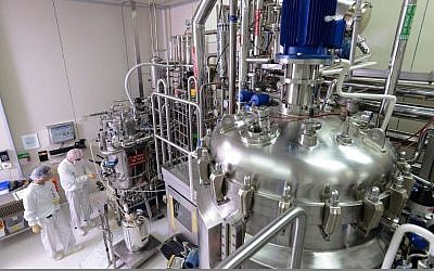The manufacturing facility of Bio-Technology General (Israel) Ltd. (BTG), at work. The biotech firm in Be'er Tuvia was bought by Swiss multinational Ferring in 2005 (Rami Chacham)