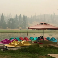 A view of smoke at Camp Tawonga in California, on July 30, 2019. (Camp Tawonga/Julia Rose Kibben via JTA)