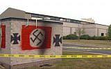 Anti-Semitic graffiti found at a synagogue in Carmel, Indiana, July 2018. (screen capture: WISH)