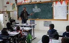 Illustrative: A Palestinian class at the Salem School, East Jerusalem, December 6, 2017. (Nasser Ishtayeh/Flash90)