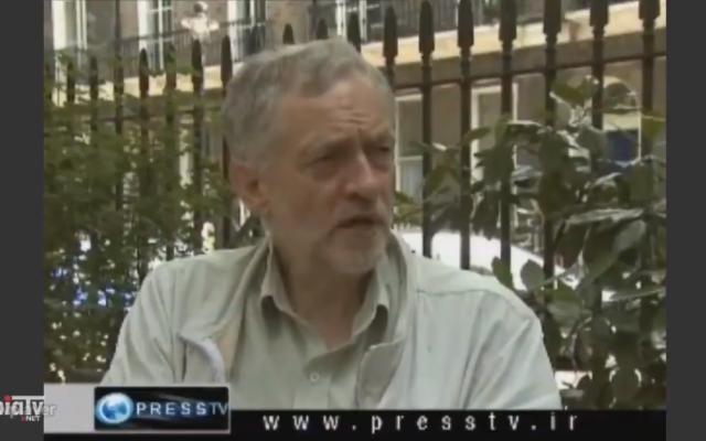 UK Labour leader Jeremy Corbyn in an interview with Iran's PressTV in 2011. (Twitter screenshot)