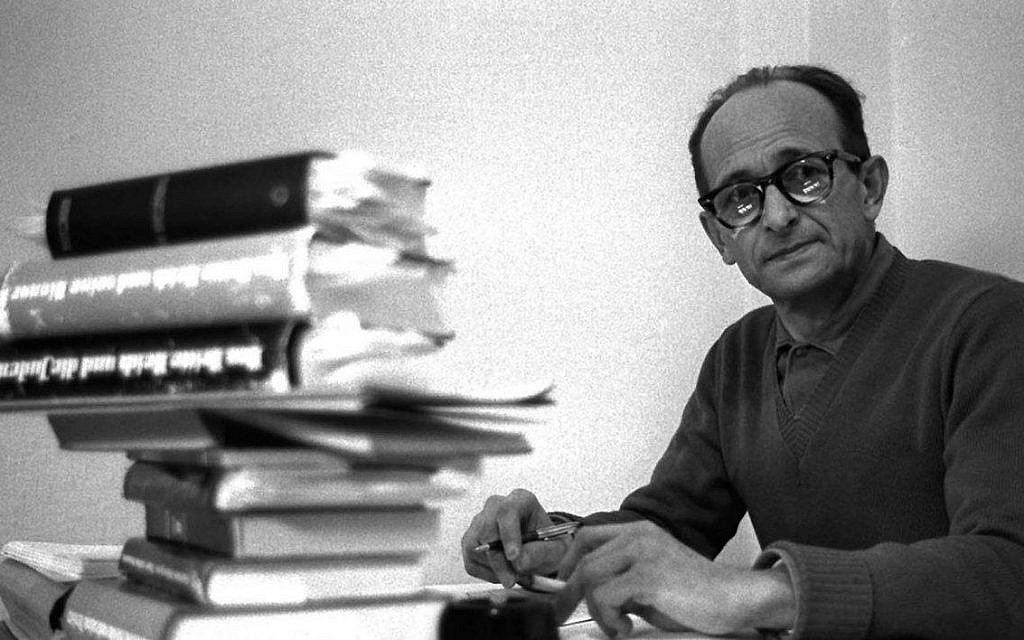 Adolf Eichmann, so-called 'architect' of the Holocaust, in his prison cell during the time of his 1961 trial in Jerusalem (public domain)