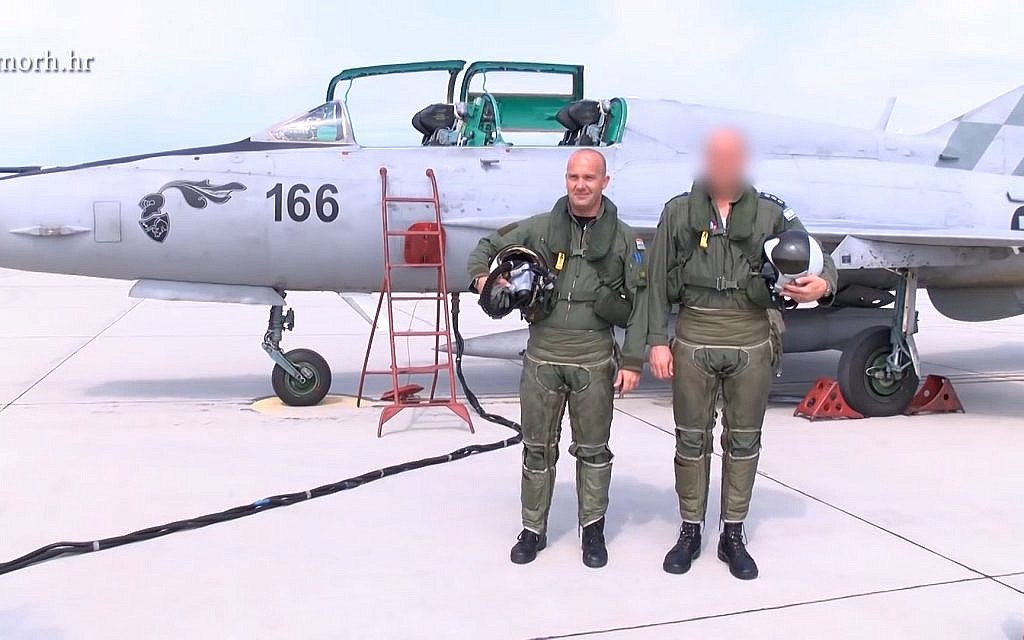 An Israeli and a Croatian pilot pose together in a video released by the Croatian Ministry of Defense
