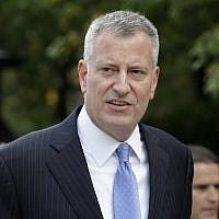 New York City Mayor Bill de Blasio at City Hall in New York, September 21, 2015. (Seth Wenig/ AP Images)