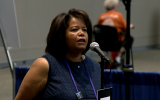 Bishop Suffragen Gayle Harris of the Massachusetts diocese of the Episcopal Church at a church gathering, August 2018. (YouTube screen capture)