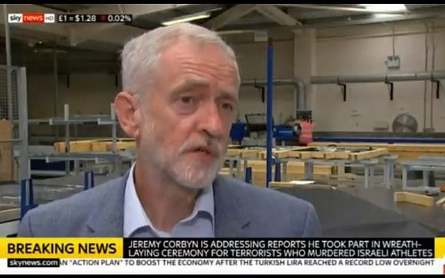 UK's Labour leader Jeremy Corbyn admits he attended a ceremony honoring terrorists behind 1972 Munich Olympics attack on August 13, 2018. (Screen capture: Sky News)