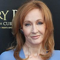 """J.K. Rowling at the opening night of the Broadway show """"Harry Potter and The Cursed Child"""" at The Lyric Theater in New York City, April 22, 2018. (Bruce Glikas/Bruce Glikas/FilmMagic via JTA)"""