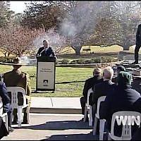 Dedication of a sculpture of General John Monash in the Australian War Memorial on July 18, 2018. (Screen capture: WIN News Canberra)