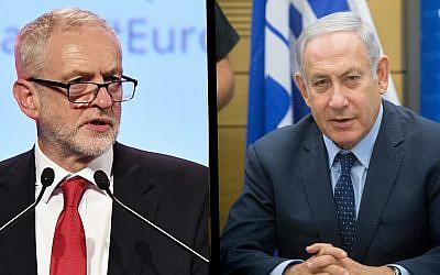 Composite image of Britain's Labour Party leader Jeremy Corbyn (l) in Brussels on October 19, 2017 and Israeli Prime Minister Benjamin Netanyahu in Jerusalem on July 16, 2018. (AP Photo/Geert Vanden Wijngaert and Miriam Alster/Flash90)