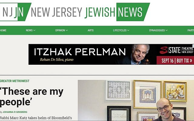 New Jersey Jewish News' new homepage