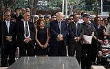 The memorial ceremony marking the second anniversary of the death of Shimon Peres, Israel's ninth president, August 31, 2018 (Flash 90)