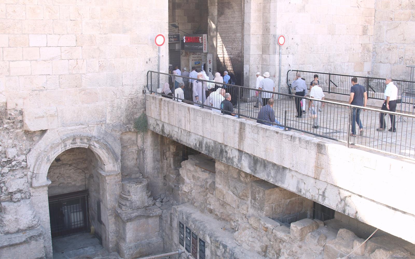 An ancient Roman gate, built by Emperor Hadrian, just below the Ottoman-era Damascus Gate. (Shmuel Bar-Am)