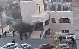 Security forces in Salt, Jordan, raiding a suspected terrorist hideout on August 11, 2018. (screen capture: Twitter)