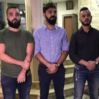 Hate crime victims Muhammad Yusifin, Muatasim Ayoub and Mawd Ayoub at a solidarity event in Shfaram, on August 28, 2018. (screen capture: channel 10)