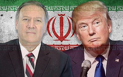 US President Donald Trump, right, and Secretary of State Mike Pompeo appear to have different views on Iran. (Illustration by Charles Dunst/JTA; photo: Maxpixel, Wikimedia Commons)