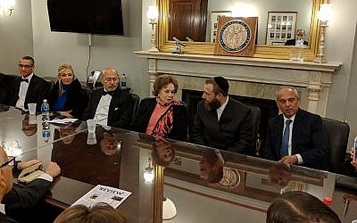 From left to right: Gamal A. El Sadat, Gigi Gabr, Shafik Gabr, Mrs. Jehan Sadat, Ezra Friedlander, Isaac Dabah. (Lenchevsky Images)