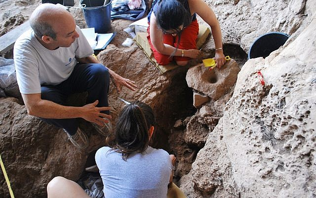 Archaeologists excavating at the Raqefet Cave where a 13,000-year-old brewery was discovered, August 2018. (Dani Nadel, University of Haifa)