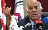 Palestinian Football Association (PFA) head and member of the Fatah Central Committee, Jibril Rajoub, speaks during a press conference in the West Bank city of Ramallah on September 3, 2018. (AFP PHOTO / ABBAS MOMANI)