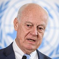 UN Special Envoy for Syria, Staffan de Mistura speaks on September 4, 2018 in Geneva (AFP/Fabrice Coffrini)