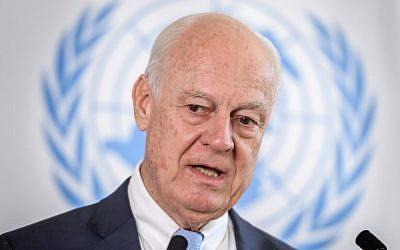 UN Special Envoy for Syria, Staffan de Mistura speaks on September 4, 2018 in Geneva (AFP/Fabrice Coffrini)
