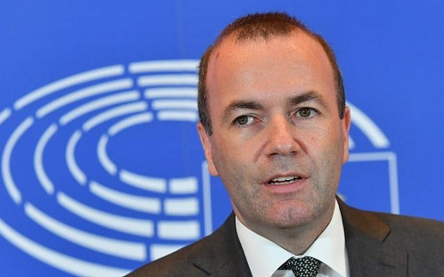 German politician Manfred Weber, the leader of the European People's Party in the European Parliament, delivers a press statement at the European Parliament in Brussels on September 5, 2018 (AFP PHOTO / Emmanuel DUNAND)