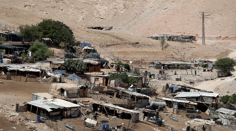 The Bedouin village of Khan al Ahmar in the West Bank