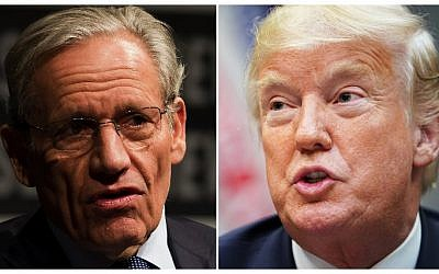 This combination of file photos created September 4, 2018 show Associate Editor of the Washington Post Bob Woodward (L) speaking at the Newseum during an event marking the 40th anniversary of Watergate at the Newseum in Washington, DC June 13, 2012; and US President Donald Trump speaking during an event to announce a grant for drug-free communities support program, in the Roosevelt Room of the White House in Washington, DC, on August 29, 2018. (AFP PHOTO / Mandel NGAN AND Jim WATSON)