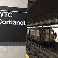 An underground train of the World Trade Center - Cortlandt Street subway station arrives in New York, September 9, 2018, where just days before the anniversary of the September 11 attacks, trains are once again running through subway station buried when the Twin Towers fell 17 years ago. (AFP PHOTO / Thomas URBAIN)
