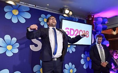 Jimmie Akesson of the Sweden Democrats speaks at an election party at the Kristallen restaurant in central Stockholm on September 9, 2018. (AFP Photo/TT News Agency/Anders Wiklund)