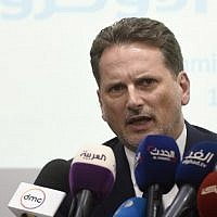 Commissioner General for the United Nations Relief and Works Agency for Palestine Refugees (UNRWA) Pierre Krahenbuhl speaks during a press conference at the United Nations Information center in Cairo on September 10, 2018 (AFP PHOTO / Khaled DESOUKI)