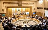 This picture taken on September 11, 2018 shows a general view of a meeting of the Arab League foreign ministers at the organization's headquarters in the Egyptian capital Cairo. (AFP Photo/Mohamed El-Shahed)