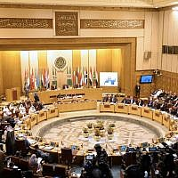 This picture taken on September 11, 2018, shows a general view of a meeting of the Arab League foreign ministers at the organization's headquarters in the Egyptian capital Cairo. (AFP Photo/Mohamed El-Shahed)
