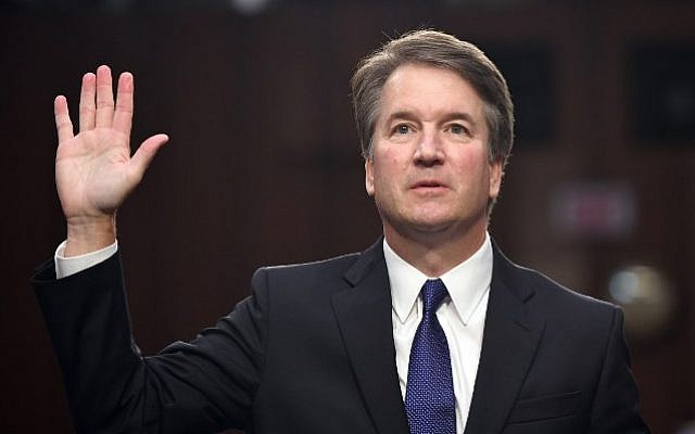 In this file photo taken on September 4, 2018 Judge Brett Kavanaugh is sworn in during his US Senate Judiciary Committee confirmation hearing to be an Associate Justice on the US Supreme Court in Washington, DC. (AFP/Saul Loeb)
