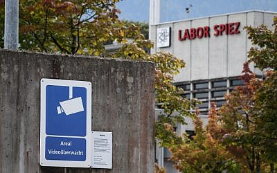 A sign warning of CCTV-controlled area is seen next to the Spiez Laboratory, Swiss Federal Institute for NBC-Protection (nuclear, biological, chemical), on September 14, 2018 in Spiez, 40km from the capital Bern (AFP PHOTO / Fabrice COFFRINI)