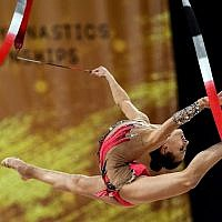 Israel's Linoy Ashram performs during the individual all-around final at the World Rhythmic Gymnastics Championships at Arena Armeec in Sofia on September 14, 2018 (AFP PHOTO / Dimitar DILKOFF)