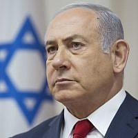 Prime Minister Benjamin Netanyahu attends the weekly cabinet meeting at the Prime Minister's Office in Jerusalem on September 16, 2018. (Sebastian Scheiner/AFP)